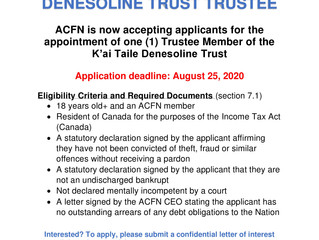 Call Out for K'ai Taile Denesoline Trust Trustee