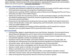 """ACFN Dene Lands & Resource Management (DLRM, formerly """"IRC"""") Job Opportunity in Fort C"""