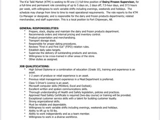 K'ai Tailé Market - Employment Opportunity Dairy/Freezer Supervisor
