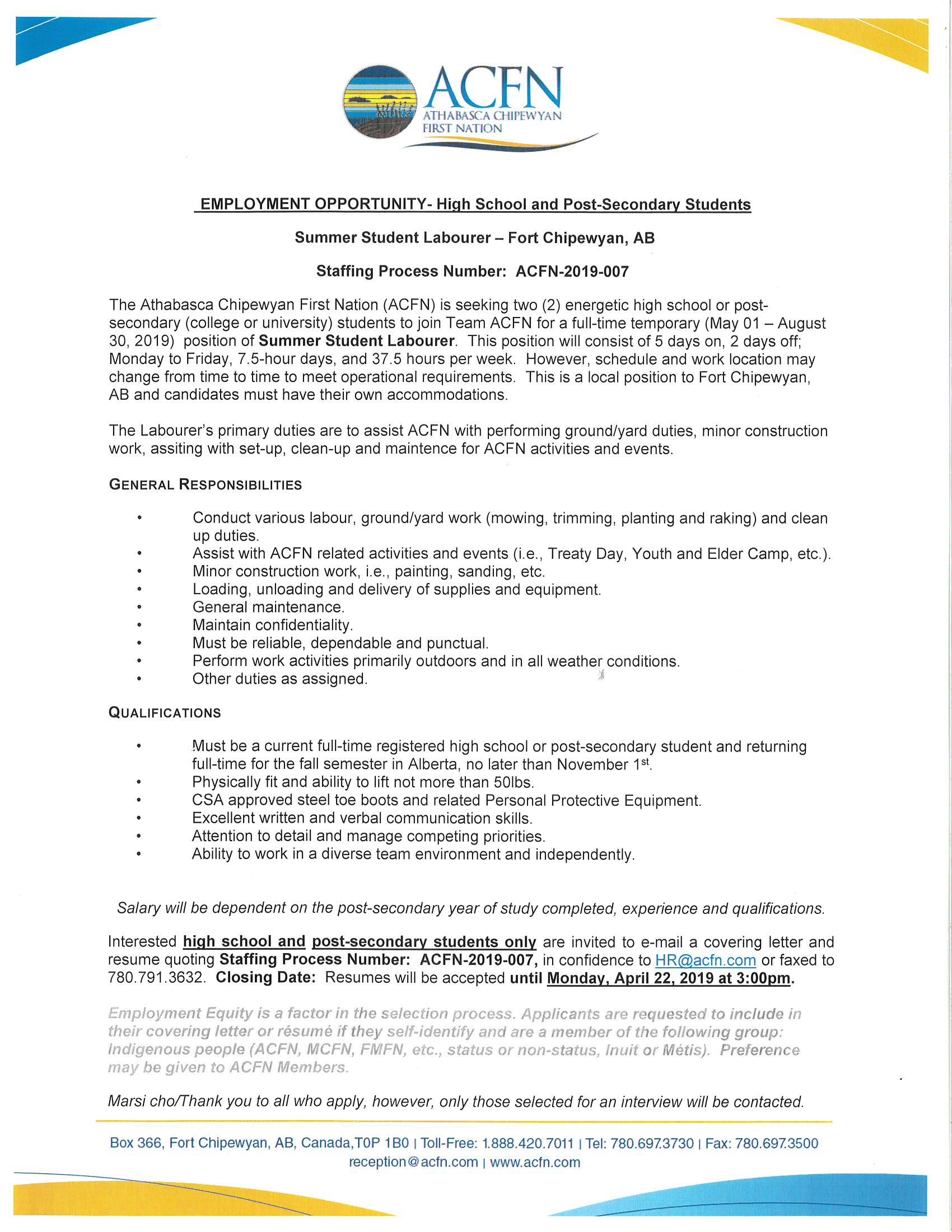 Employment Opportunity - Summer Student Labourer - Fort Chipewyan