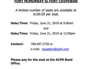 ACFN selling Charter seats to Fort Chip on June 21!