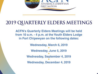 2019 Dates for Quarterly ACFN Elders Meetings