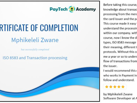 Great review of our course on ISO 8583 and Transaction processing by Mphikeleli Zwane