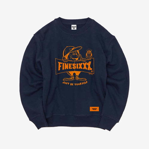 Finesickboy Crew Sweat - Navy×Ca Orange