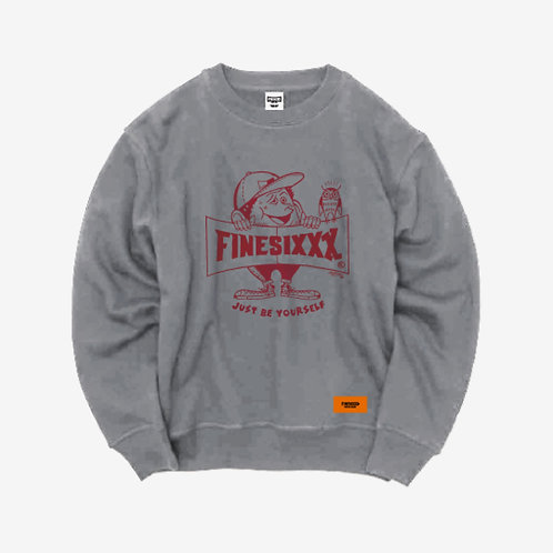 Finesickboy Crew Sweat - Gray×Burgundy