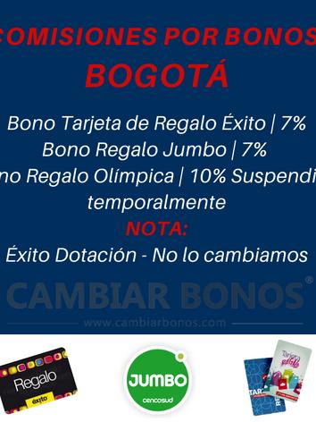 Comisiones Tarjetas Éxito en Bogotá.