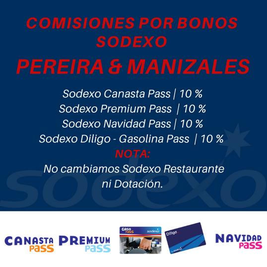 Comisiones Bonos Sodexo Pereira y Manizales