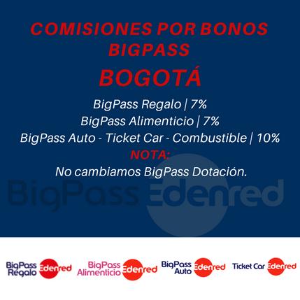 Comisiones Bonos BigPass en Bogotá