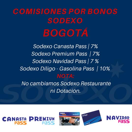 Comisiones Bonos Sodexo en Bogotá. Cambiar Bonos