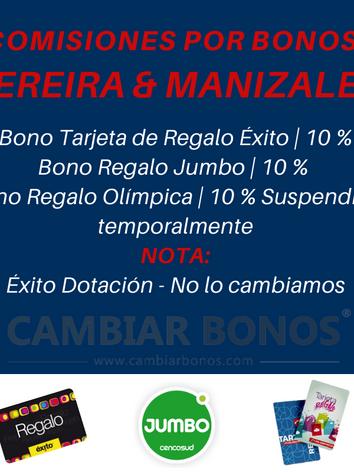 Comisiones Tarjetas Éxito en Pereira y Manizales.