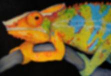 Veiled Chameleon, Mixed Media Art