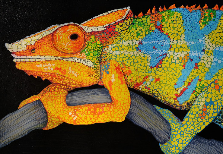 Veiled Chameleon, Mixed Media Art