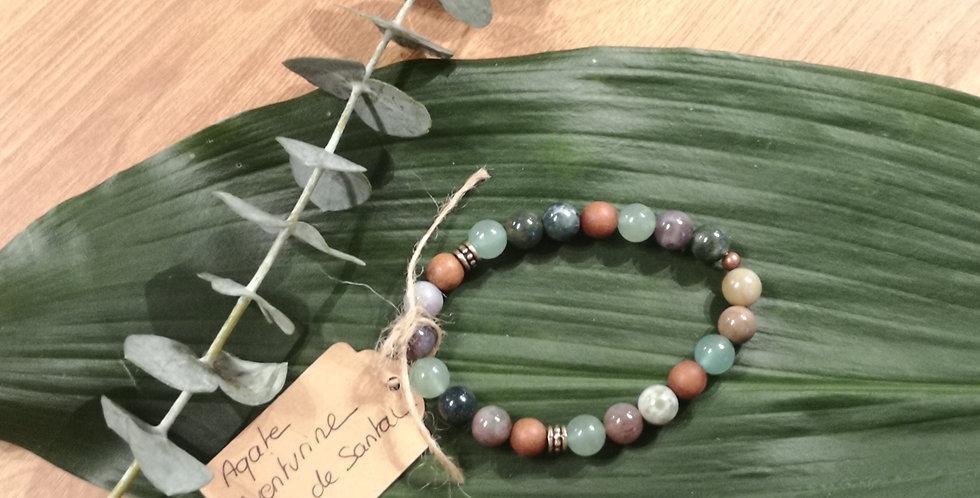 Mandalamaya - Bracelet Agate, Aventurine, Bois de Santal