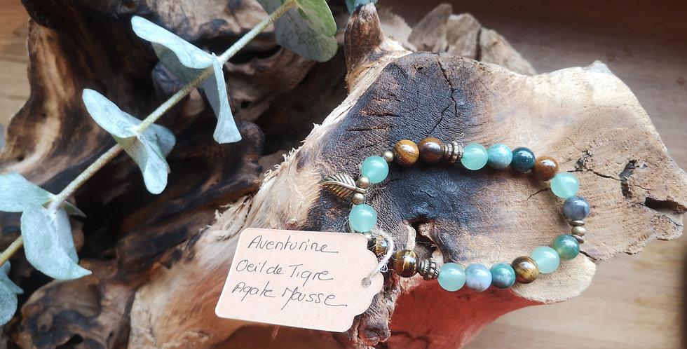 Mandalamaya - Bracelet Aventurine, Oeil de tigre, agate mousse