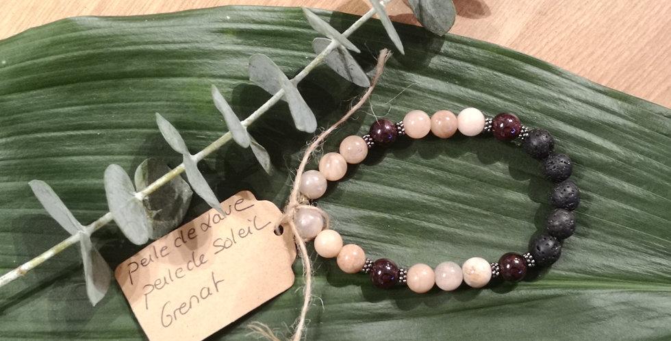 Mandalamaya - Bracelet Perle de lave, Perle de Soleil, Grenat