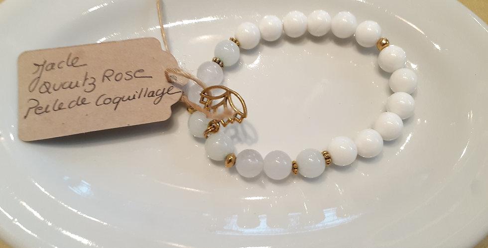 Mandalamaya - Bracelet Jade, Quartz rose et perle de coquillage