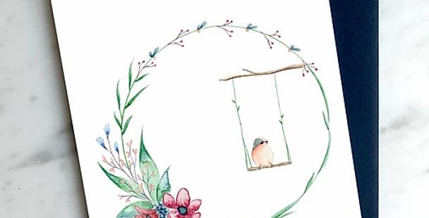 HOBEIKA ART - Carte Couronne de Fleurs