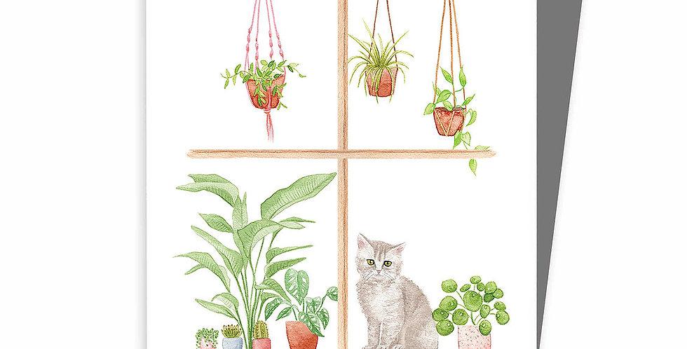 HOBEIKA ART - Carte Chat à la fenêtre