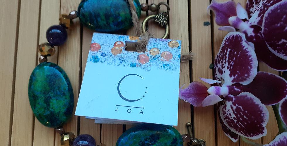 JOÂ - Bracelet de turquoise, d'améthyste et de cristal