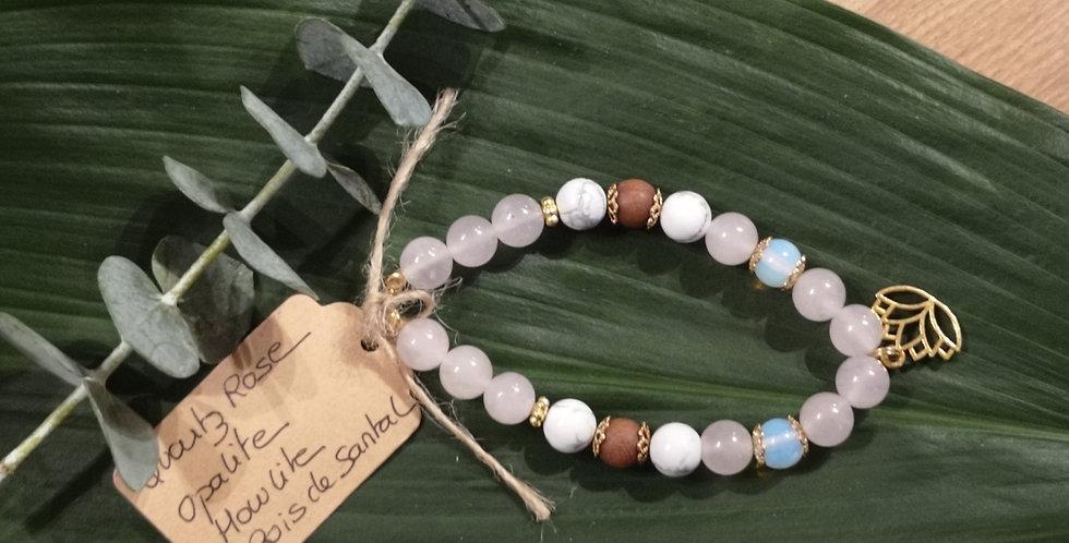 Mandalamaya - Quartz rose, Opalite, Howlite, Bois de Santal