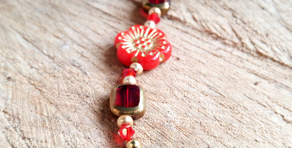 JOÂ - Bracelet mixte perles et fleurs rouges orangées