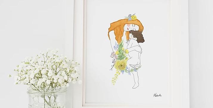 HOBEIKA ART - Affiche Mère et enfant