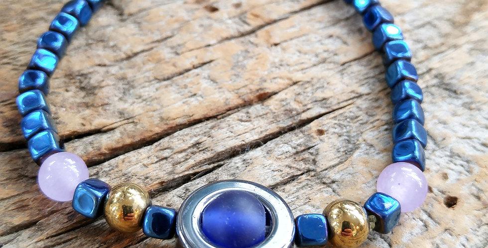 JOÂ - Bracelet mixte perles quartz roses et hématite bleue