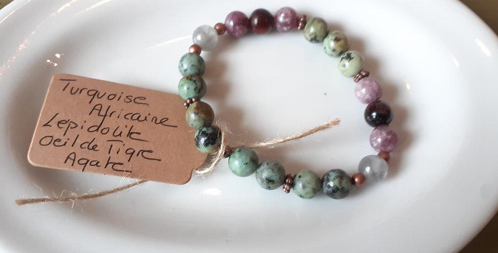Mandalamaya - Bracelet Turquoise africaine, Lépidolite, Oeil du tigre et Agate
