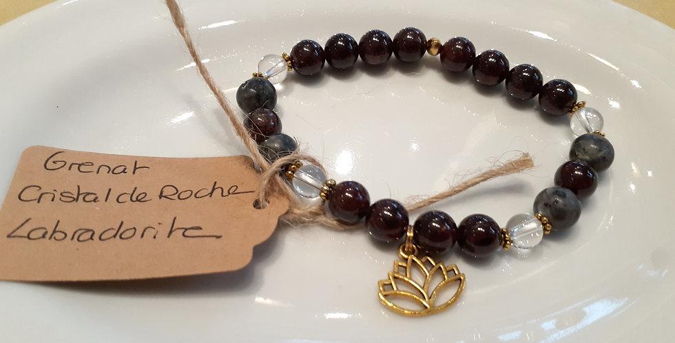 Mandalamaya - Bracelet Grenat, Cristal de roche et Labradorite
