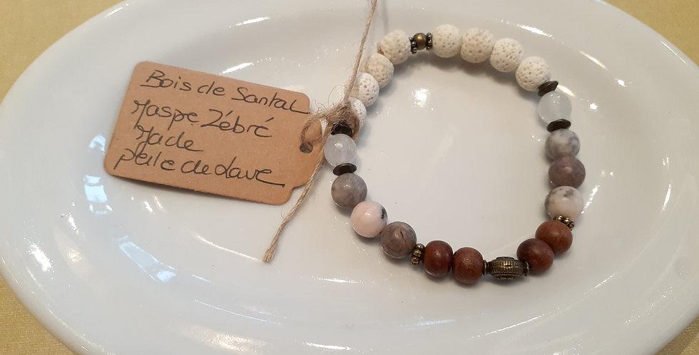 Mandalamaya - Bracelet Bois de santal, Jaspe zébré, Jade et perle de lave
