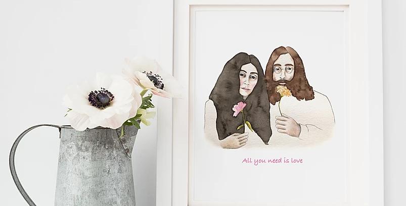 HOBEIKA ART - Affiche John et Yoko