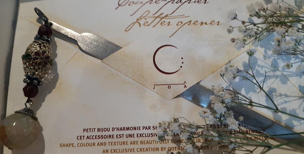 JOÂ - Coupe-papier avec aqate, filigramme et cristal