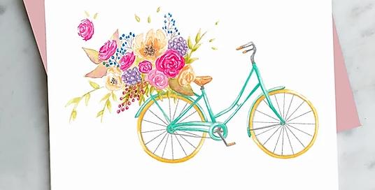 HOBEIKA ART - Carte Vélo fleuri