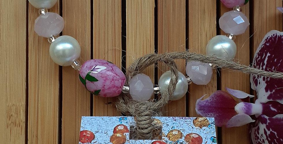 JOÂ - Bracelet de porcelaine, perle de verre et de cristal