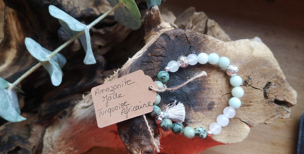 Mandalamaya - Bracelet Amazonite Jade, Turquoise Africaine