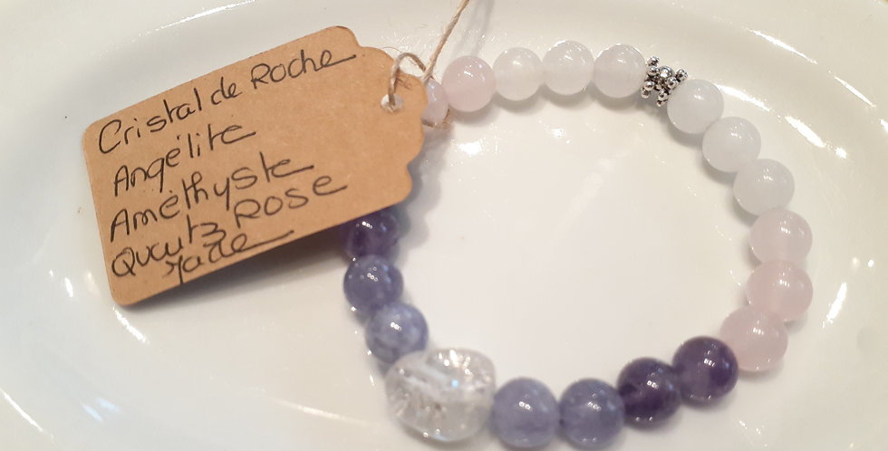 Mandalamaya - Bracelet Cristal de roche, Angélite, Quartz rose et Jade
