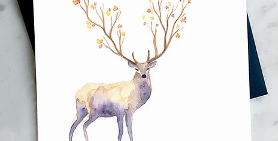 HOBEIKA ART - Carte Cerf d'automne