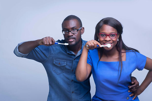 Kwabena Nyark & Dr Sefa Ahiaku brushing their teeth