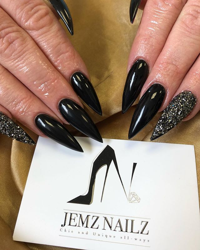 Black 😍 #jemzblack #blacknails #nails #