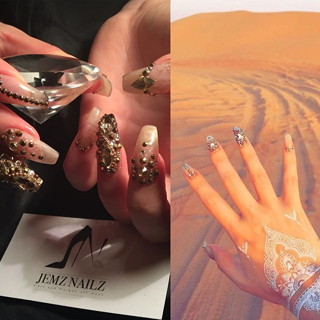 Diamonds in Dubai #jemzbling #jemztreasure #jemzclientview #dubai #holidaynails #arabiandesert 👌🏾