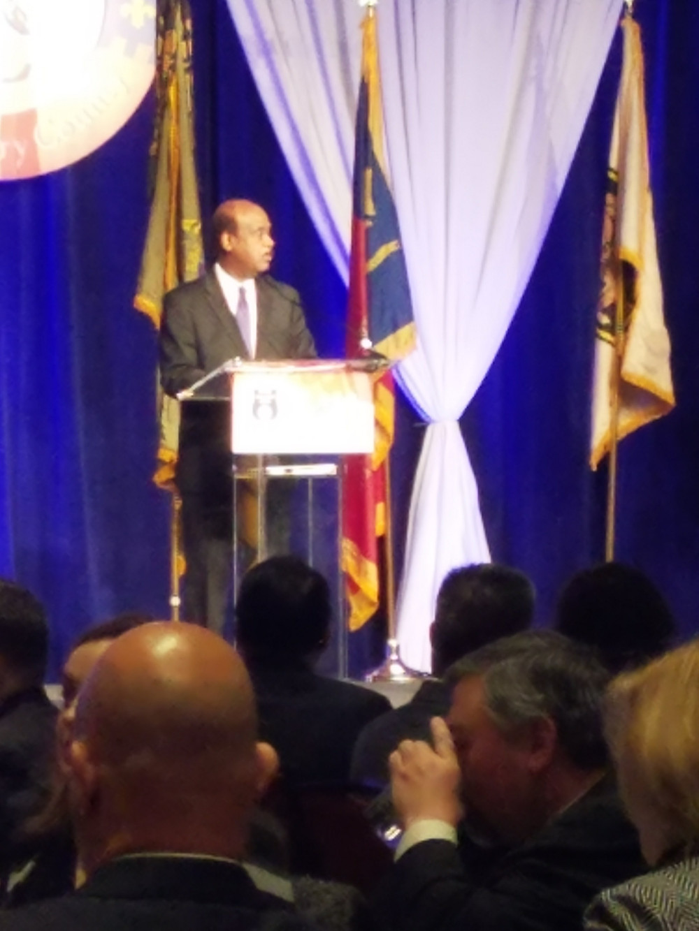 "Montgomery County Executive Isiah ""Ike"" Leggett accepts MCCC Public Safety Government Partner of the Year award"