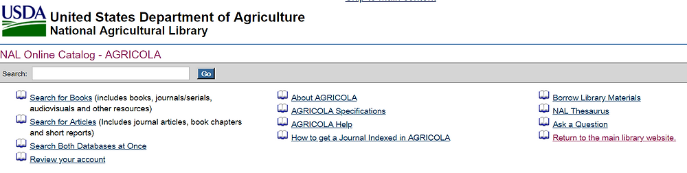 Screenshot of the AGRICOLA online database