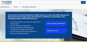 Landing page for CDER Library web application