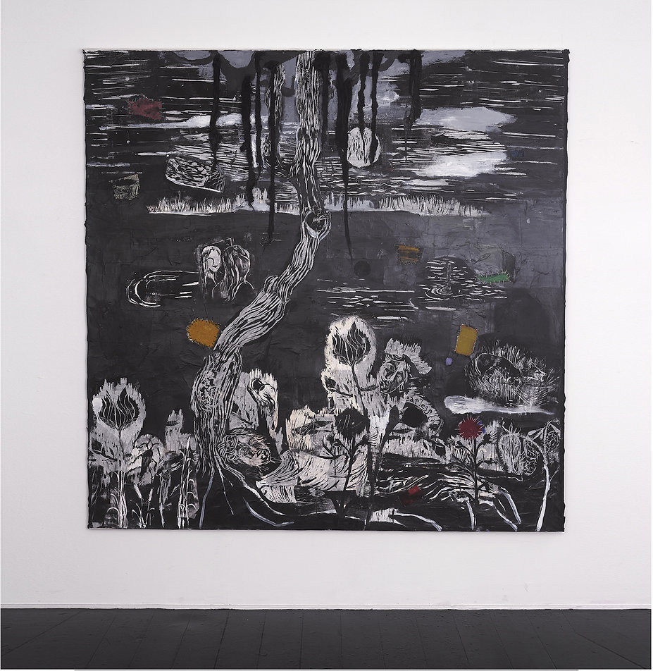 Mette Vangsgaard, collage, fine arts, mixed media, woodcuts, pigments on canvas,maleri , painting
