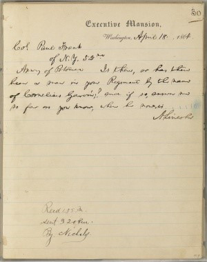 Handwritten letter given by President Lincoln to Catherine Gavin
