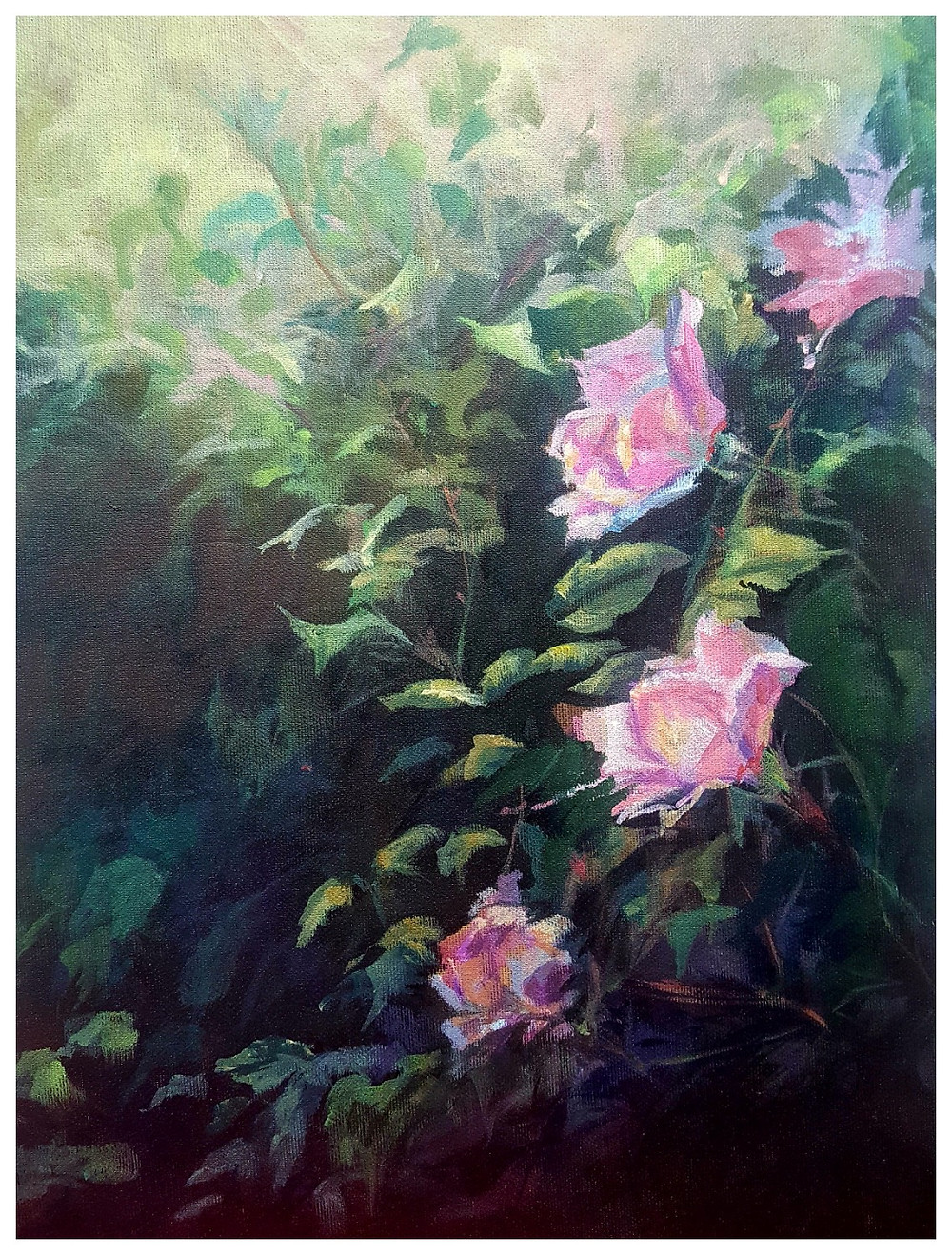 Pink Roses painted by Kathy Tiernan - Acrylic Paint