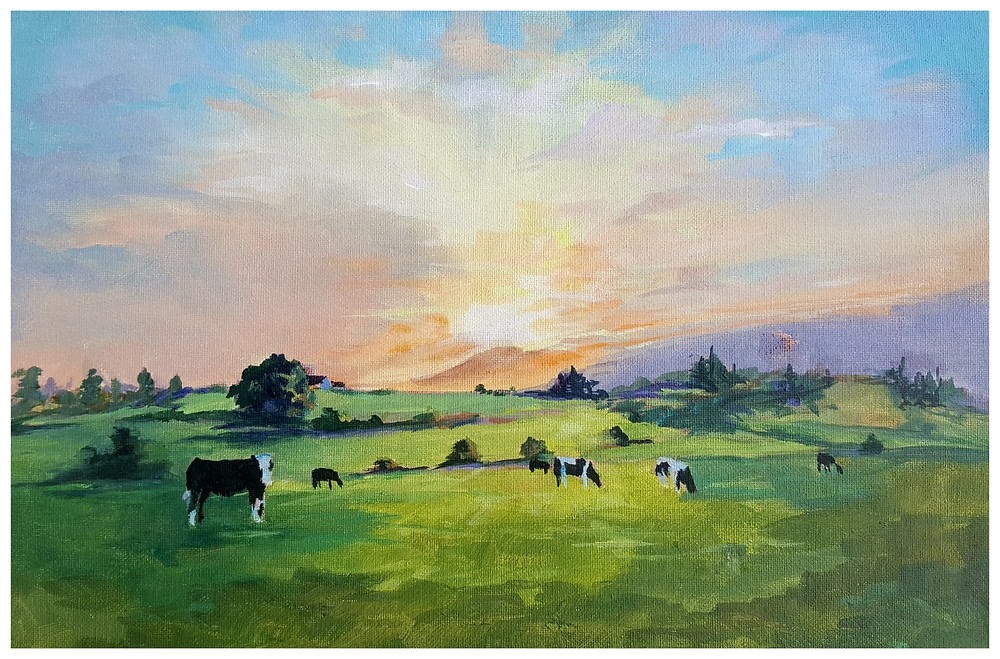 Rahin Cows painted by Kathy Tiernan - Acrylic Paint