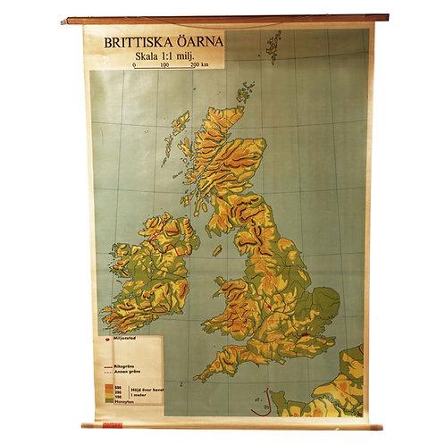 1960s vintage school map
