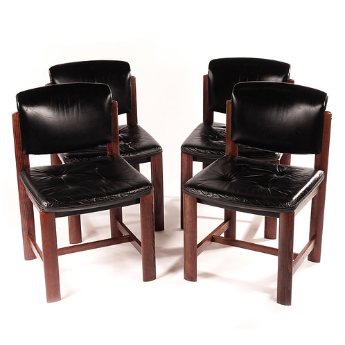 1960s leather and teak dining chairs