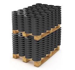 packaging on pallet+pallet, plastic spools
